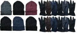 288 Bulk Yacht & Smith Men's Winter Care Set, Fleece Gloves And Winter Beanie Set