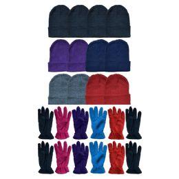288 Bulk Yacht & Smith Women's Winter Care Set, Fleece Gloves And Winter Beanie Set