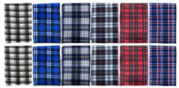 144 Bulk Yacht & Smith Unisex Warm Winter Plaid Fleece Scarfs Assorted Colors Size 60x12 Bulk Buy