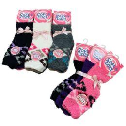 24 Bulk Women's Diamond Pattern Soft & Cozy Fuzzy Socks