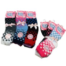 24 Bulk Women's Polka Dot Soft & Cozy Fuzzy Socks