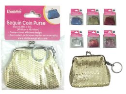 288 Bulk Sequin Coin Purse Keychain