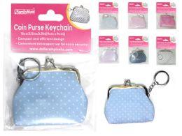 288 Bulk Polka Dot Coin Purse Keychain