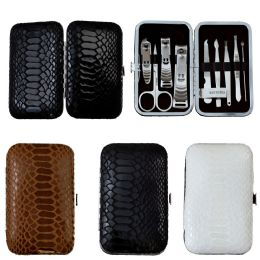 24 Bulk 9 Piece Stainless Steel Manicure Set In 3 Assorted Snake Skin Colors
