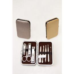 24 Bulk 9 Piece Stainless Steel Bulk Manicure Set In 3 Assorted Metallic Colors