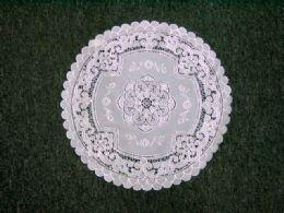 432 Bulk Crochet Round Placemat White Silver
