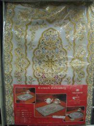 180 Bulk 2 Piece Set Oblong White Gold Vinyl Placemat