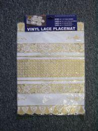 72 Bulk Vinyl Lace Placemat Beige Gold