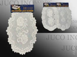 36 Bulk Table Mat Round White Polyester Lace