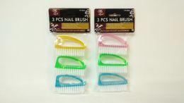 144 Bulk 3 Piece Plastic Nail Brush