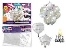 144 Bulk 8 Pc Party Balloon SeT- Silver Only