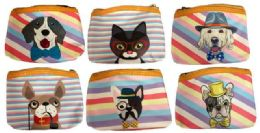 48 Bulk Coin Purse Pastel Stripe Assorted Puppy Design