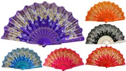 48 Bulk Hand Fan With Glittery Butterfly Design Assorted Colors