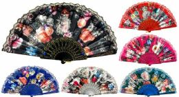 48 Bulk Hand Fan With Flowers And Lace Assorted Colors