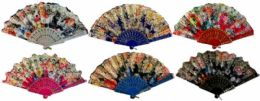 48 Bulk Colorful Fan With Assorted Flower Design