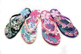 48 Bulk Womens Flowery Flip Flops With Decorative Straps