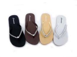 48 Bulk Classy Women' Flip Flops With Rhinestone Straps