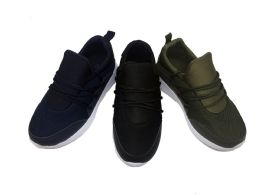12 Bulk Cool Pull On Kids Sneakers With Laced Front In Black