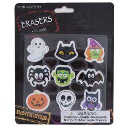 72 Bulk 9ct Novelty Halloween Erasers On Blister Card