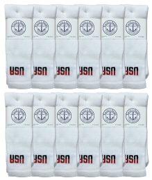 36 Bulk Yacht & Smith Men's Cotton 28 Inch Tube Socks, Referee Style, Size 10-13 White With Usa Print