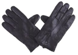 72 Bulk Men's Black Leather Glove