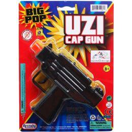 "48 Bulk 5.75"" Black Super Cap Toy Uzi On Blister Card"