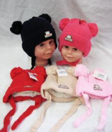 36 Bulk Baby Beanie Hat With Fur Lining & Pompom