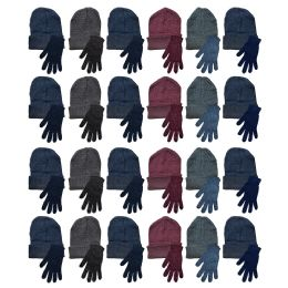 48 Bulk Yacht & Smith Mens Warm Winter Hats And Glove Set Assorted Colors 48 Pieces