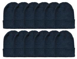 24 Bulk Yacht & Smith Unisex Winter Warm Beanie Hats In Solid Black