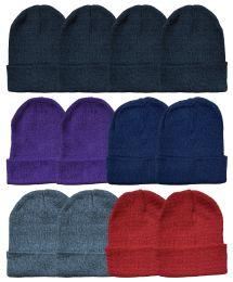 24 Bulk Yacht & Smith Ladies Winter Toboggan Beanie Hats In Assorted Colors