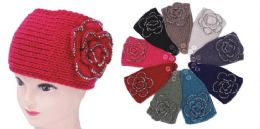 96 Bulk Knit Flower Headband