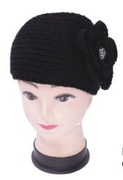 72 Bulk Knit Flower Headband In Black