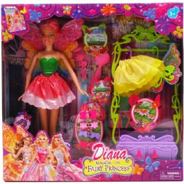 """12 Bulk 11.5"""" Diana Fairy Doll With Access In Window Box 3 Assorted Color"""