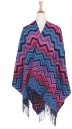 36 Bulk Women's Chevron Waved Poncho