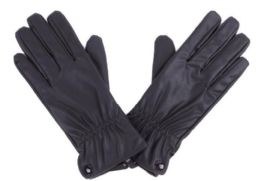 72 Bulk Women's Black Leather Gloves With Buttons