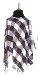 36 Bulk Women's Checker Design Winter Ponchos