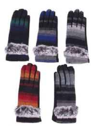72 Bulk Women's Cotton Striped Winter Glove With Fur