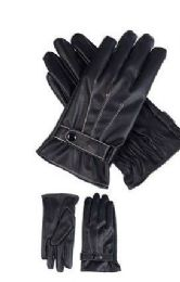 72 Bulk Mens Leather Winter Gloves With Snap Design