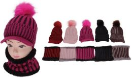 72 Bulk Women's 2 Piece Knit Winter Hat With Neck Warmer