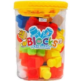 12 Bulk Educational Blocks In Bucket With Handle
