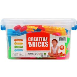 12 Bulk Assorted Colored Blocks In Plastic Container
