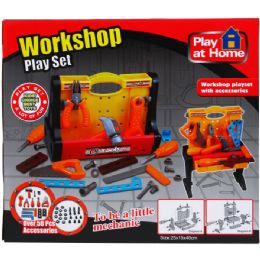 12 Bulk Plus Workshop Tool Play Set In Color Box