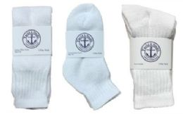 360 Bulk Yacht & Smith Kid's Cotton Sock Set Assorted Styles, Crew, Ankle And Tube White