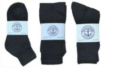 360 Bulk Yacht & Smith Kid's Cotton Sock Set Assorted Styles, Crew, Ankle And Tube Black