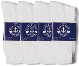 5304 Bulk Yacht & Smith Men's Cotton Crew Socks, Sock Size 10-13, White