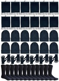 48 Bulk Yacht & Smith 48 Pack Wholesale Bulk Winter Thermal Beanies Skull Caps, Thermal Gloves Unisex