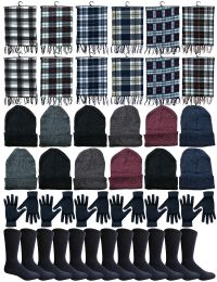 48 Bulk Yacht & Smith Wholesale Bulk Winter Care 4 Piece Set, Plaid Scarf, Beanie, Glove, Socks