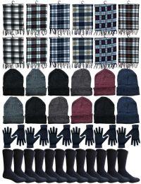 240 Bulk Winter Bundle Care Kit For Woman, 4 Piece - Hats Gloves Beanie Fleece Scarf Set In Assorted Colors
