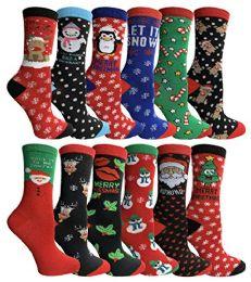 120 Bulk Yacht & Smith Christmas Holiday Crew Socks Assorted Holiday Design Size 9-11