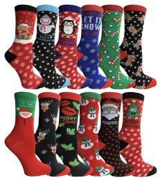 360 Bulk Yacht & Smith Christmas Holiday Crew Socks Assorted Holiday Design Size 9-11